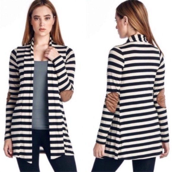 Sweaters - Black/White Striped Elbow Patch Knit Cardigan